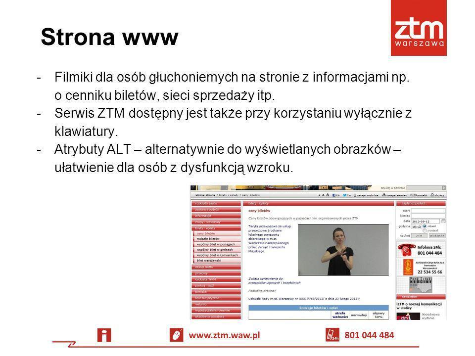 Strona www -Filmiki dla osób głuchoniemych na stronie z informacjami np. o cenniku biletów, sieci sprzedaży itp. -Serwis ZTM dostępny jest także przy