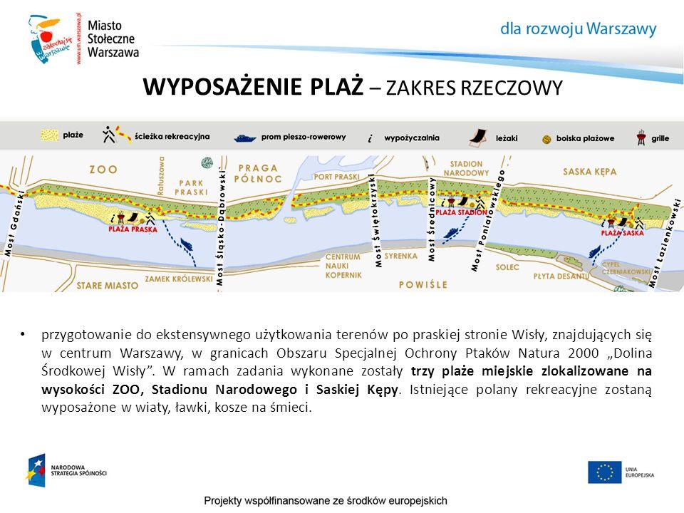 WYPOSAŻENIE PLAŻ – ZAKRES RZECZOWY przygotowanie do ekstensywnego użytkowania terenów po praskiej stronie Wisły, znajdujących się w centrum Warszawy,