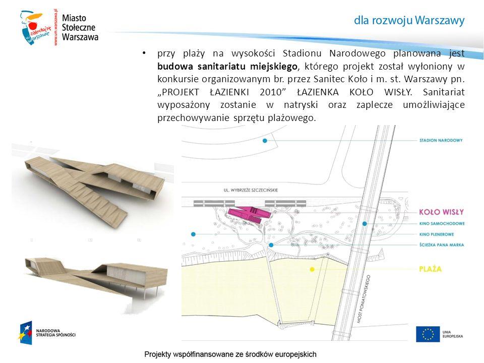 przy plaży na wysokości Stadionu Narodowego planowana jest budowa sanitariatu miejskiego, którego projekt został wyłoniony w konkursie organizowanym b