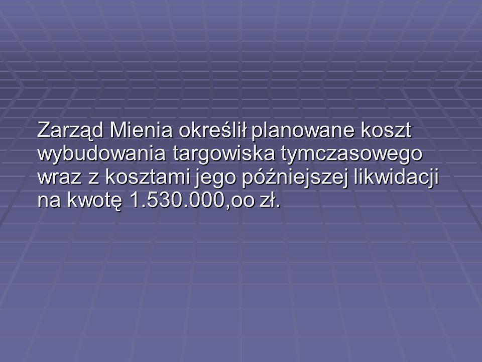Zarząd Mienia określił planowane koszt wybudowania targowiska tymczasowego wraz z kosztami jego późniejszej likwidacji na kwotę 1.530.000,oo zł.