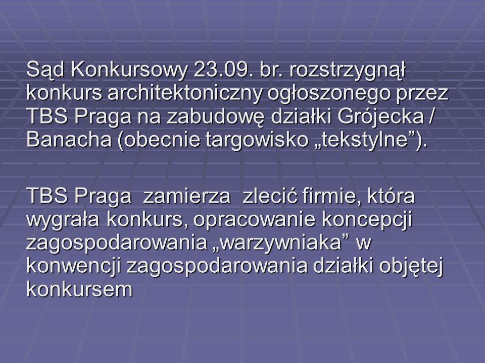 Sąd Konkursowy 23.09. br. rozstrzygnął konkurs architektoniczny ogłoszonego przez TBS Praga na zabudowę działki Grójecka / Banacha (obecnie targowisko