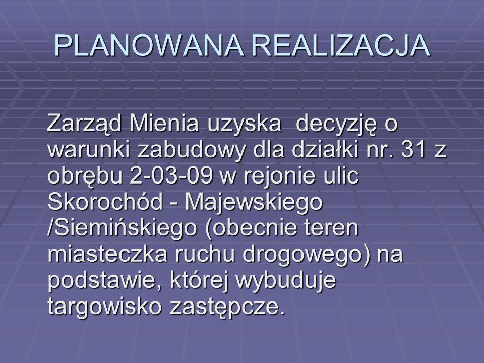 PLANOWANA REALIZACJA Zarząd Mienia uzyska decyzję o warunki zabudowy dla działki nr. 31 z obrębu 2-03-09 w rejonie ulic Skorochód - Majewskiego /Siemi