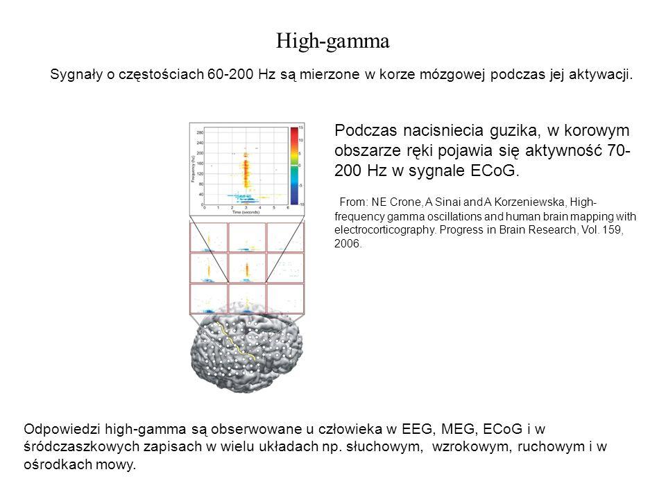 High-gamma Sygnały o częstościach 60-200 Hz są mierzone w korze mózgowej podczas jej aktywacji. Podczas nacisniecia guzika, w korowym obszarze ręki po