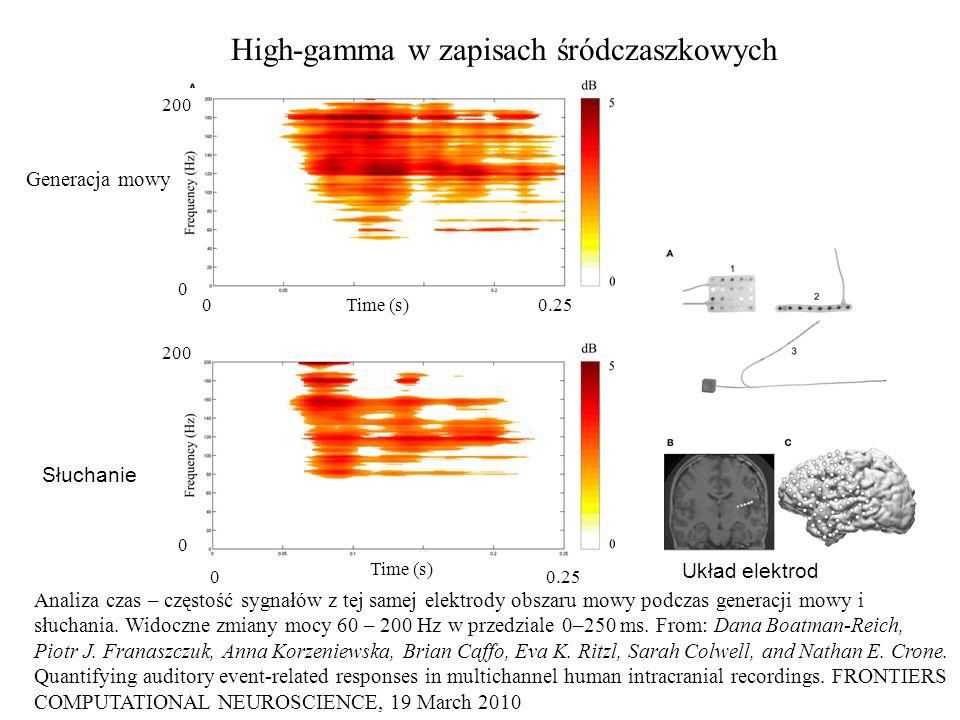High-gamma w zapisach śródczaszkowych Analiza czas – częstość sygnałów z tej samej elektrody obszaru mowy podczas generacji mowy i słuchania. Widoczne