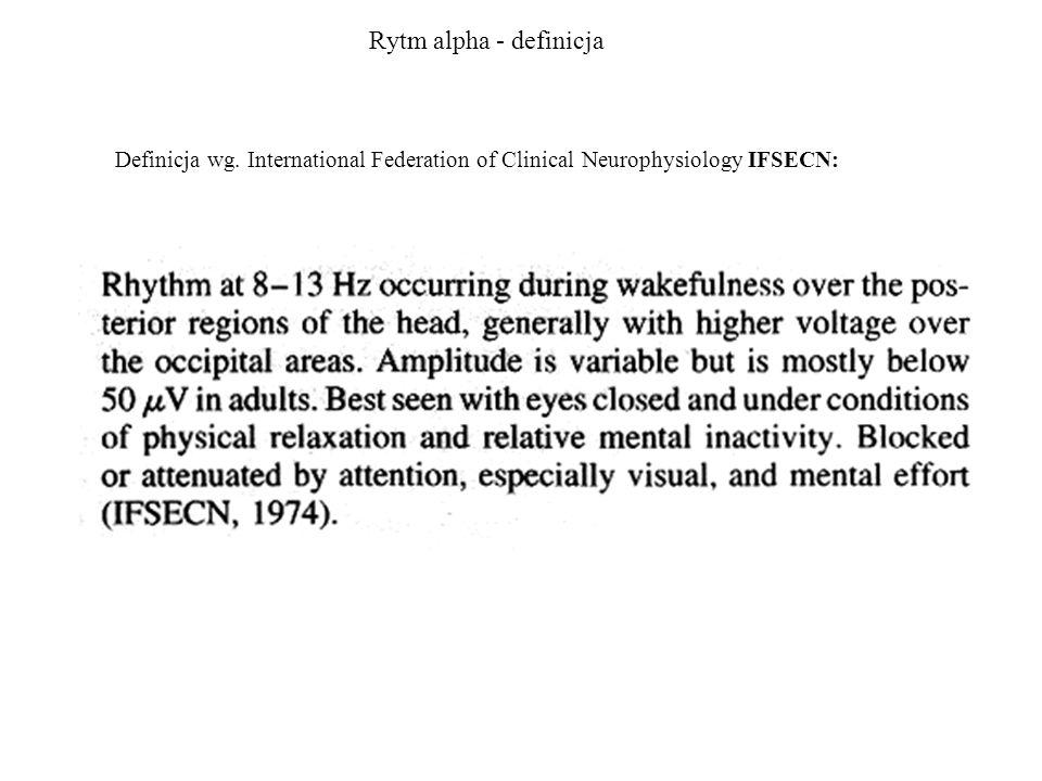 Alpha, mu i tau Rytm alpha widoczny w okolicy potylicznej (elektrody P, O) zanika po otwarciu oczu.