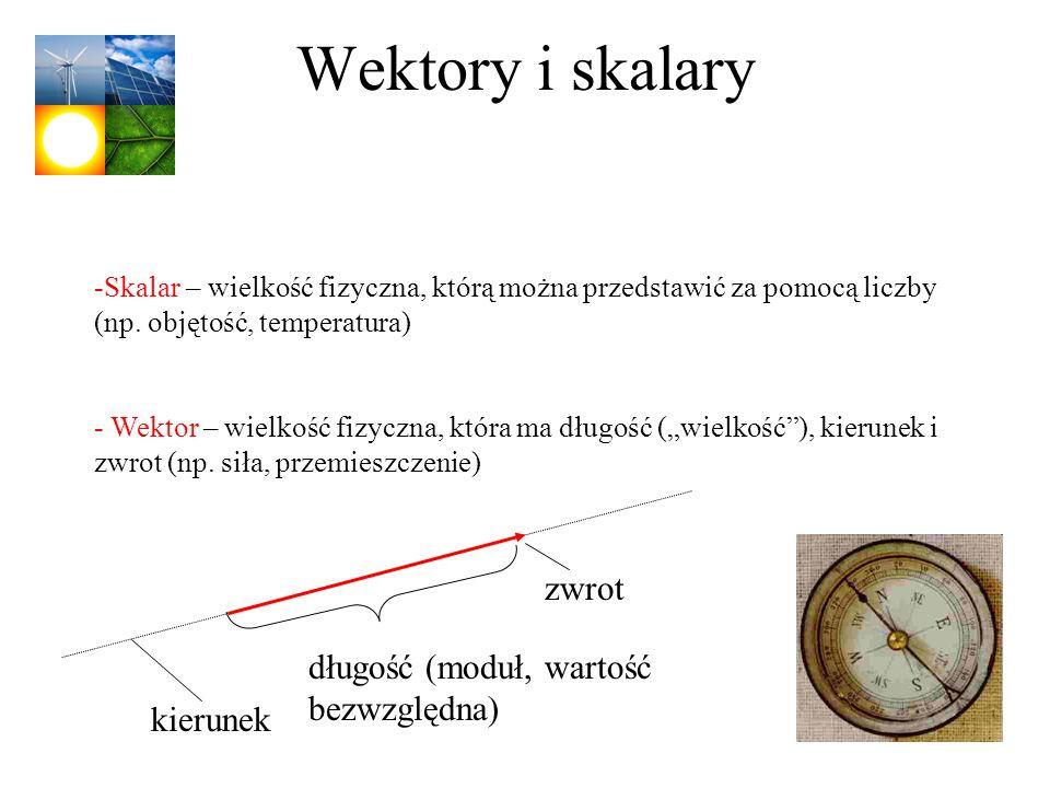 Wektory i skalary -Skalar – wielkość fizyczna, którą można przedstawić za pomocą liczby (np. objętość, temperatura) - Wektor – wielkość fizyczna, któr