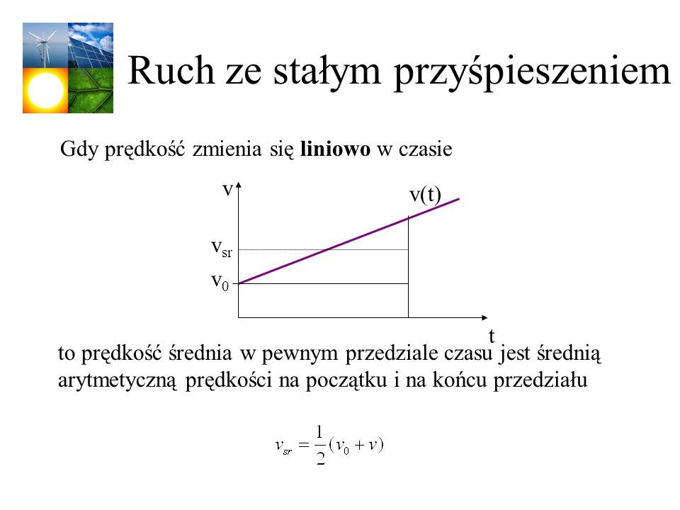 Ruch ze stałym przyśpieszeniem Gdy prędkość zmienia się liniowo w czasie v t v(t) v0v0 v sr to prędkość średnia w pewnym przedziale czasu jest średnią