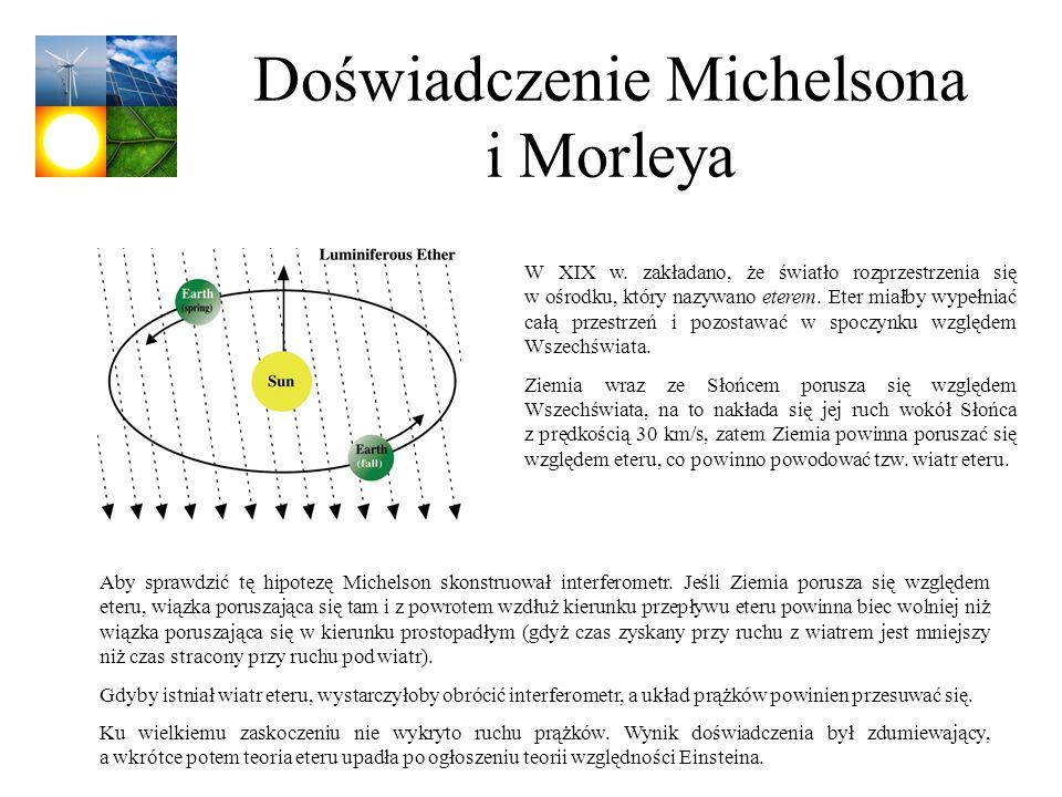 Doświadczenie Michelsona i Morleya W XIX w. zakładano, że światło rozprzestrzenia się w ośrodku, który nazywano eterem. Eter miałby wypełniać całą prz