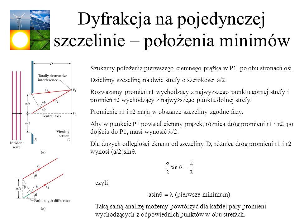 Dyfrakcja na pojedynczej szczelinie – położenia minimów Szukamy położenia pierwszego ciemnego prążka w P1, po obu stronach osi. Dzielimy szczelinę na