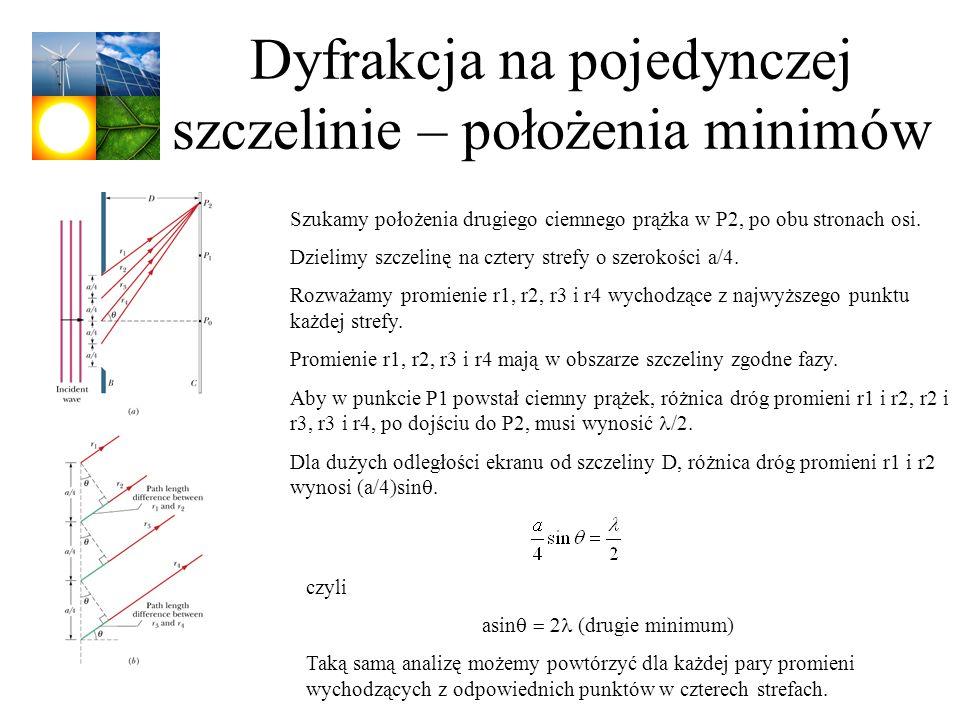 Dyfrakcja na pojedynczej szczelinie – położenia minimów Szukamy położenia drugiego ciemnego prążka w P2, po obu stronach osi. Dzielimy szczelinę na cz