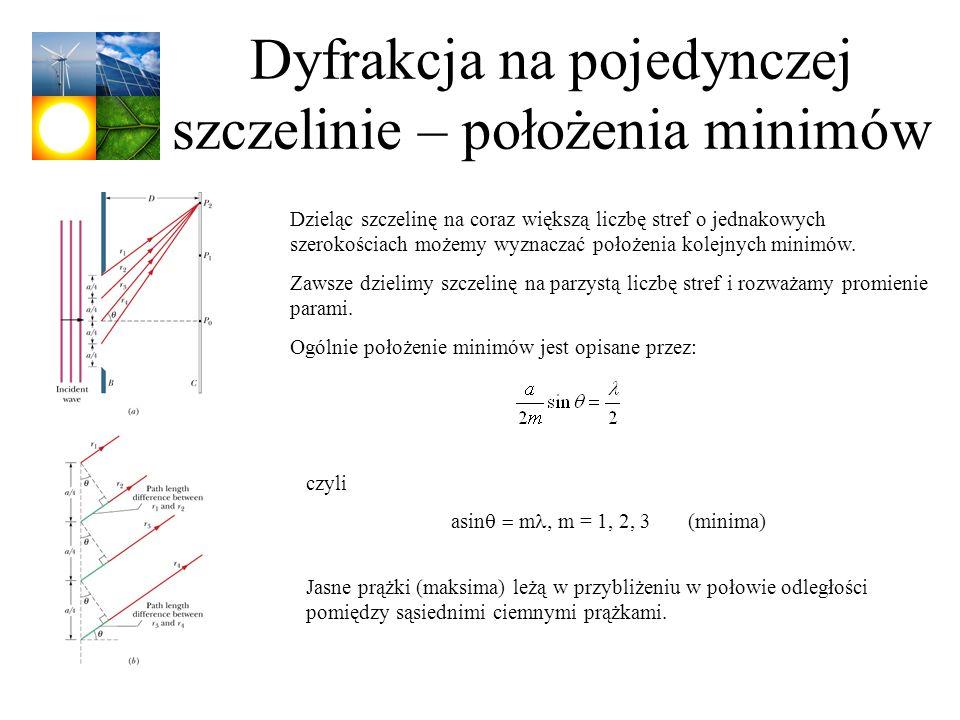 Dyfrakcja na pojedynczej szczelinie – położenia minimów Dzieląc szczelinę na coraz większą liczbę stref o jednakowych szerokościach możemy wyznaczać p