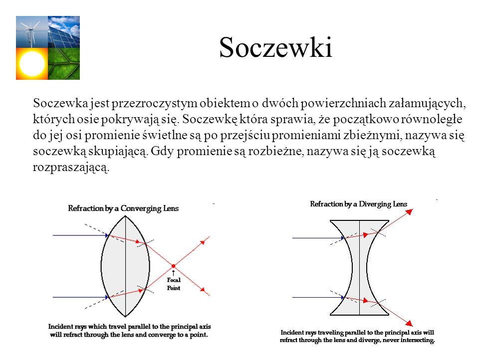 Soczewki Soczewka jest przezroczystym obiektem o dwóch powierzchniach załamujących, których osie pokrywają się. Soczewkę która sprawia, że początkowo
