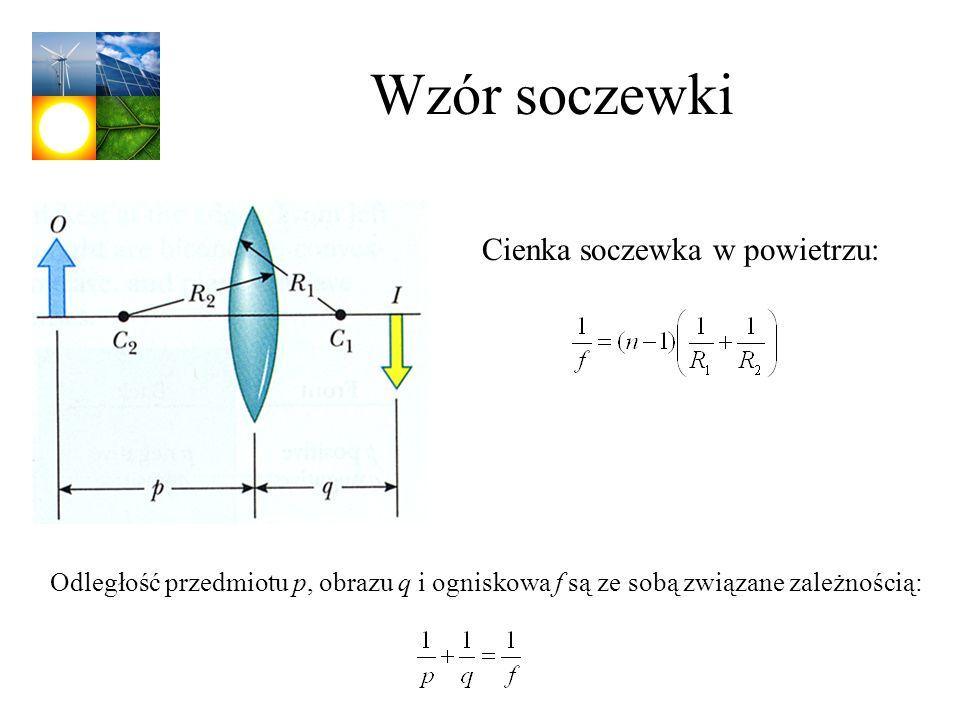 Wzór soczewki Odległość przedmiotu p, obrazu q i ogniskowa f są ze sobą związane zależnością: Cienka soczewka w powietrzu:
