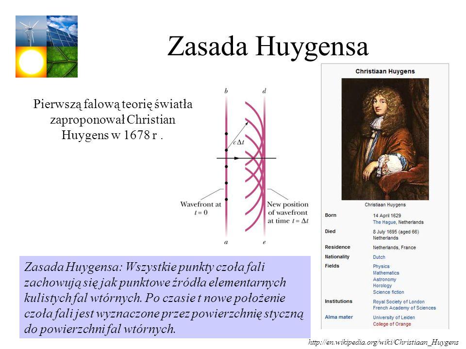 Zasada Huygensa Pierwszą falową teorię światła zaproponował Christian Huygens w 1678 r. Zasada Huygensa: Wszystkie punkty czoła fali zachowują się jak