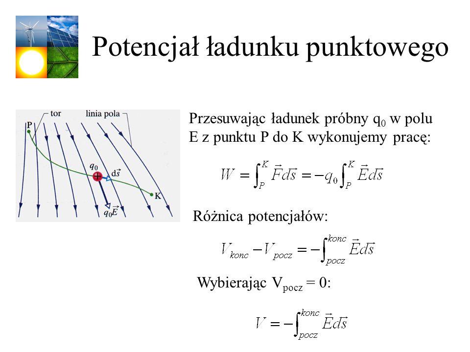 Potencjał ładunku punktowego Różnica potencjałów: Przesuwając ładunek próbny q 0 w polu E z punktu P do K wykonujemy pracę: Wybierając V pocz = 0: