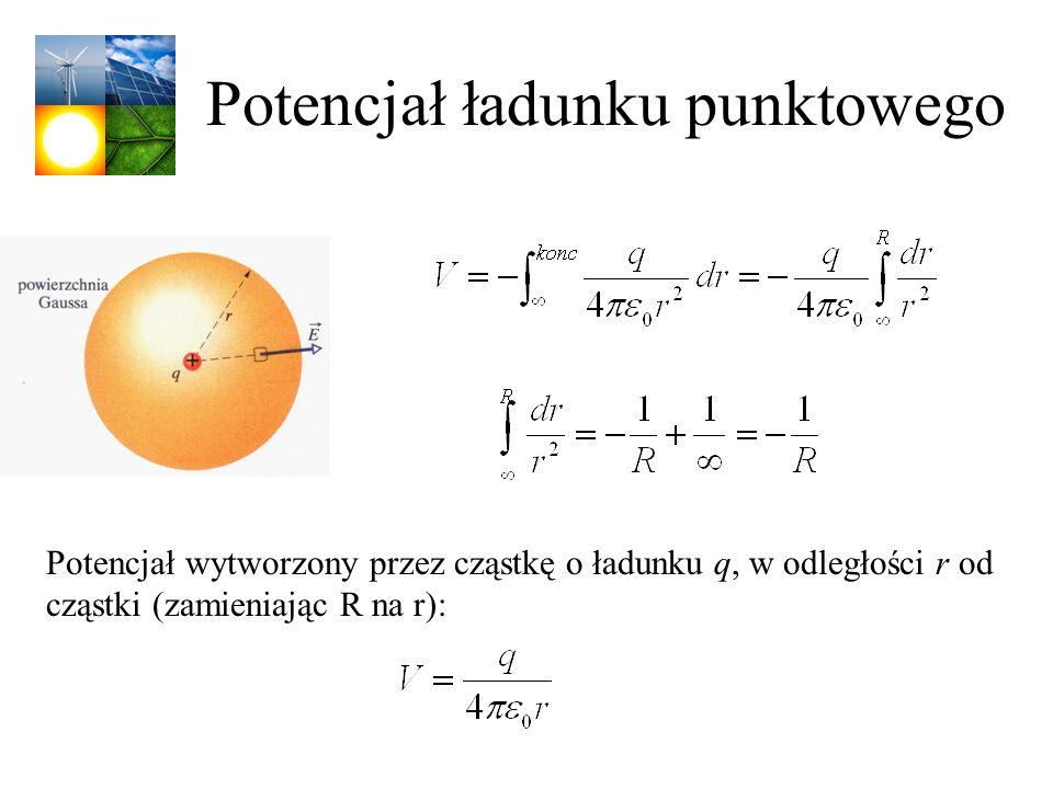 Potencjał ładunku punktowego Potencjał wytworzony przez cząstkę o ładunku q, w odległości r od cząstki (zamieniając R na r):