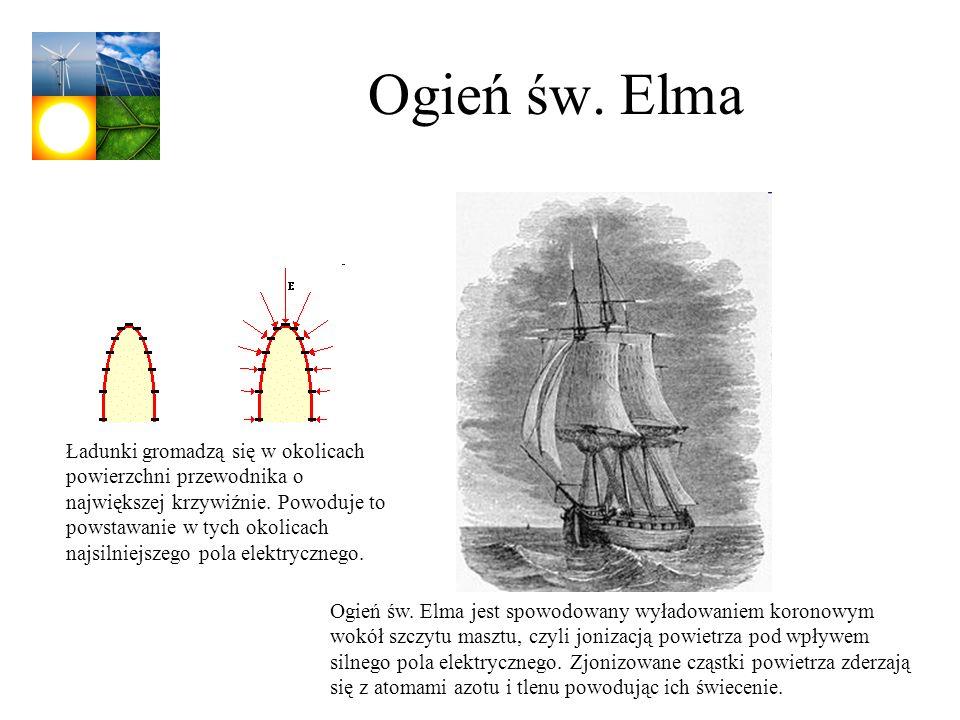 Ogień św. Elma Ładunki gromadzą się w okolicach powierzchni przewodnika o największej krzywiźnie. Powoduje to powstawanie w tych okolicach najsilniejs