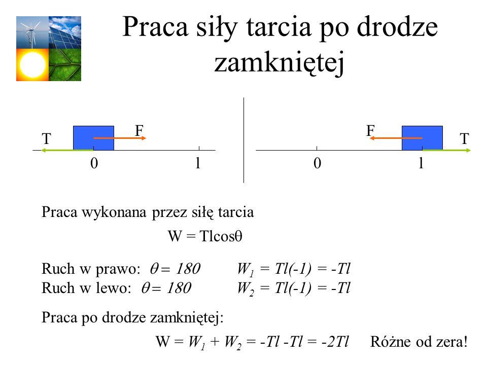 Praca siły tarcia po drodze zamkniętej W = Tlcos Praca wykonana przez siłę tarcia Ruch w prawo: W 1 = Tl(-1) = -Tl Ruch w lewo: W 2 = Tl(-1) = -Tl Pra
