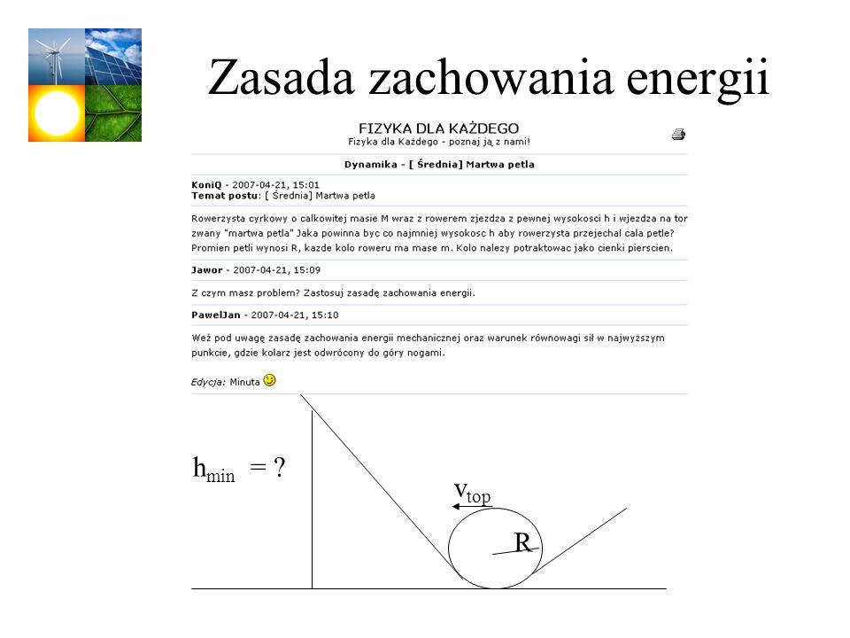 Zasada zachowania energii h min = ? R v top