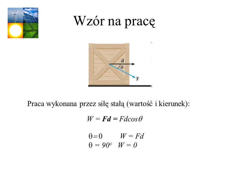 Wzór na pracę W = Fd = Fdcos W = Fd = 90 o W = 0 Praca wykonana przez siłę stałą (wartość i kierunek):