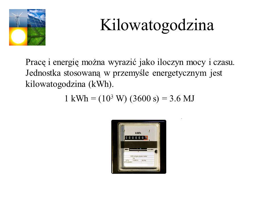 Kilowatogodzina Pracę i energię można wyrazić jako iloczyn mocy i czasu. Jednostka stosowaną w przemyśle energetycznym jest kilowatogodzina (kWh). 1 k