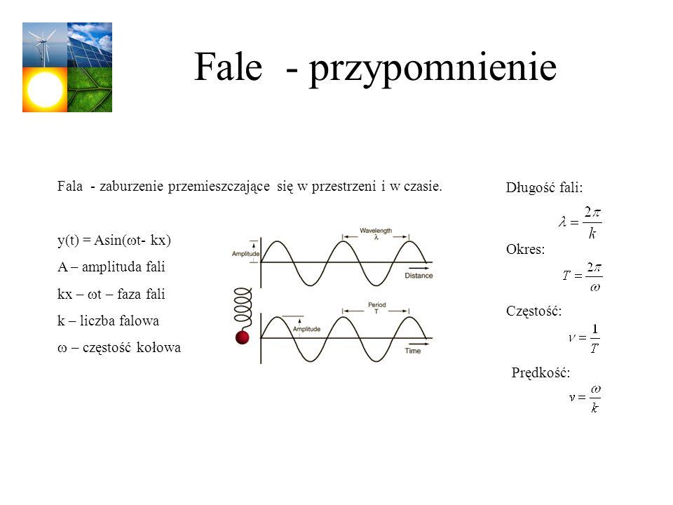 Fale - przypomnienie Fala - zaburzenie przemieszczające się w przestrzeni i w czasie. y(t) = Asin( t- kx) A – amplituda fali kx – t – faza fali k – li