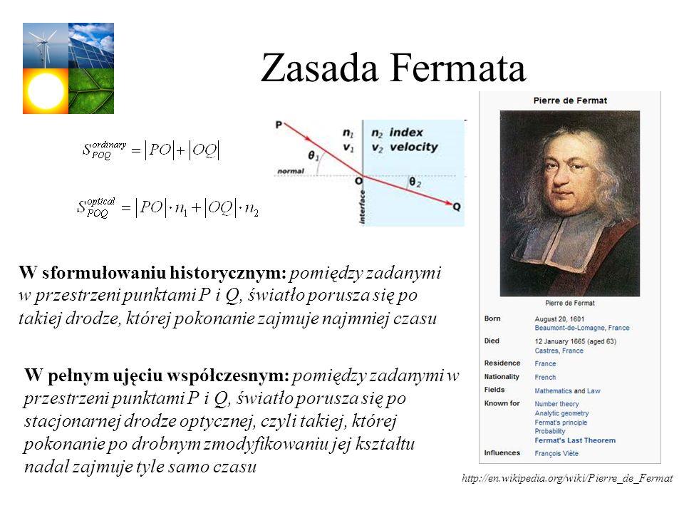 Zasada Fermata http://en.wikipedia.org/wiki/Pierre_de_Fermat W sformułowaniu historycznym: pomiędzy zadanymi w przestrzeni punktami P i Q, światło por
