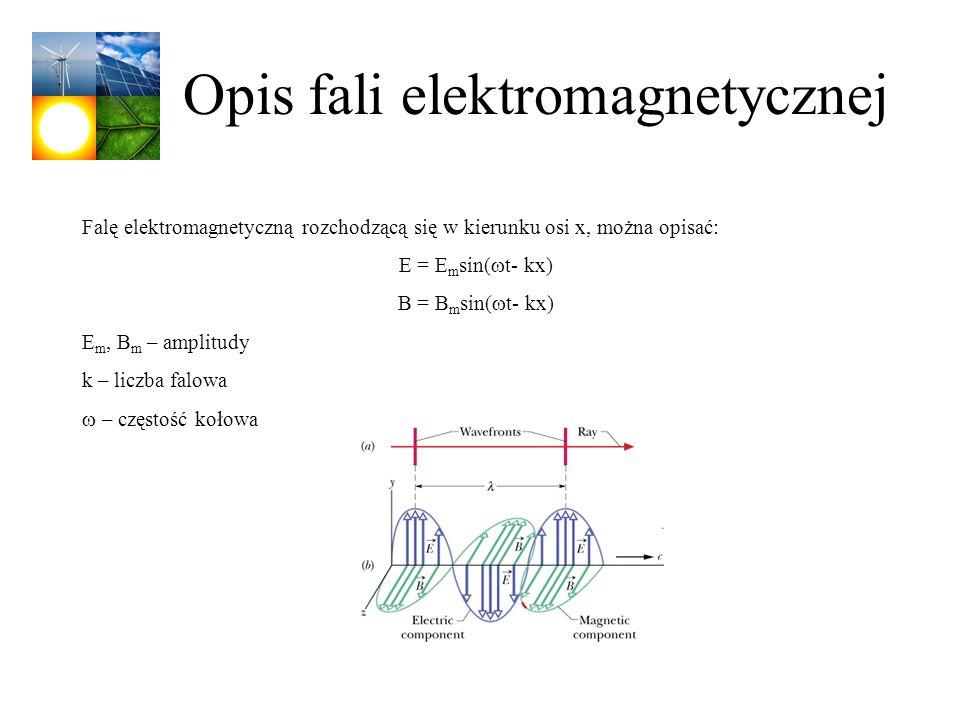 Opis fali elektromagnetycznej Falę elektromagnetyczną rozchodzącą się w kierunku osi x, można opisać: E = E m sin( t- kx) B = B m sin( t- kx) E m, B m