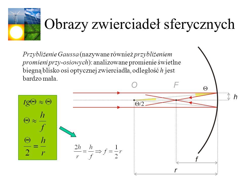 Obrazy zwierciadeł sferycznych Przybliżenie Gaussa (nazywane również przybliżeniem promieni przy-osiowych): analizowane promienie świetlne biegną blis