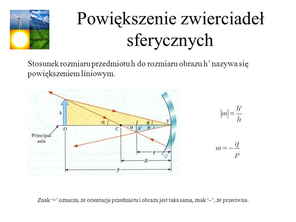 Powiększenie zwierciadeł sferycznych Stosunek rozmiaru przedmiotu h do rozmiaru obrazu h nazywa się powiększeniem liniowym. Znak + oznacza, ze orienta
