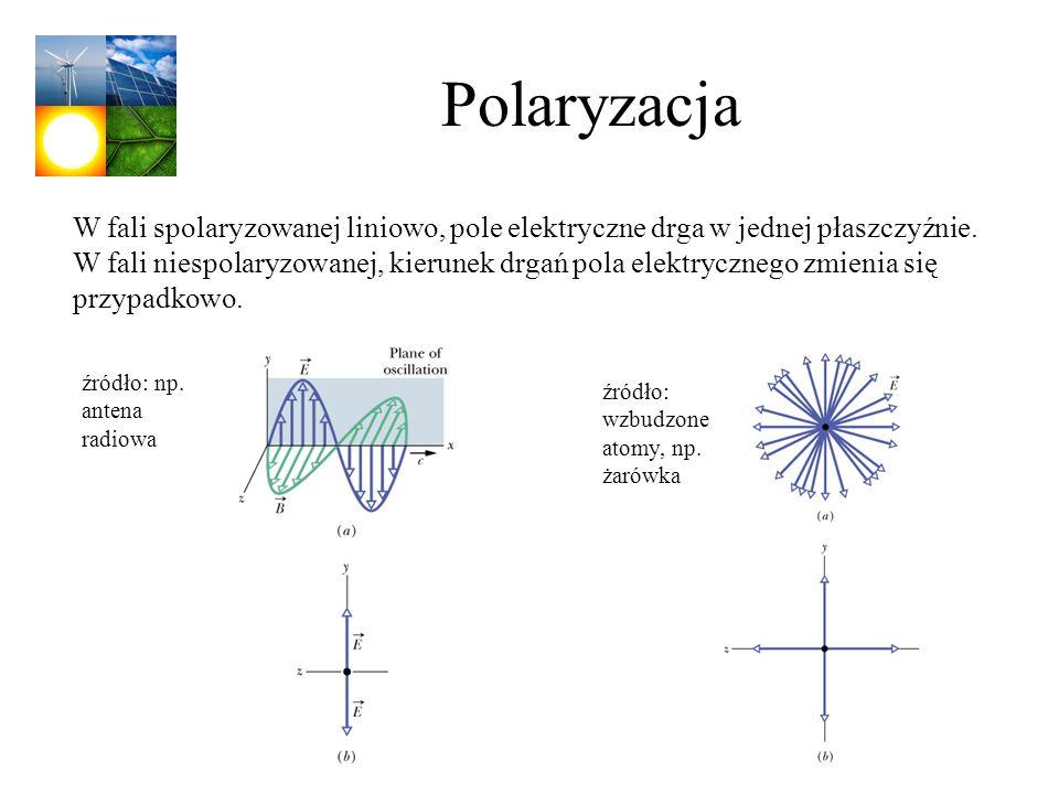 Polaryzacja W fali spolaryzowanej liniowo, pole elektryczne drga w jednej płaszczyźnie. W fali niespolaryzowanej, kierunek drgań pola elektrycznego zm