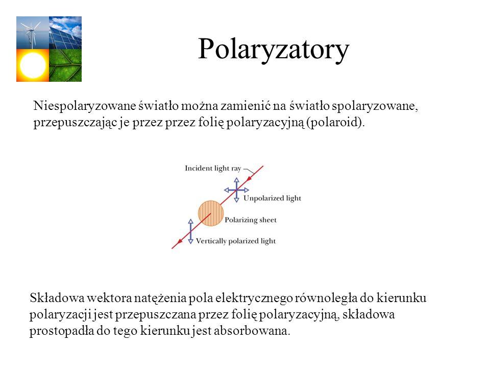 Polaryzatory Niespolaryzowane światło można zamienić na światło spolaryzowane, przepuszczając je przez przez folię polaryzacyjną (polaroid).. Składowa