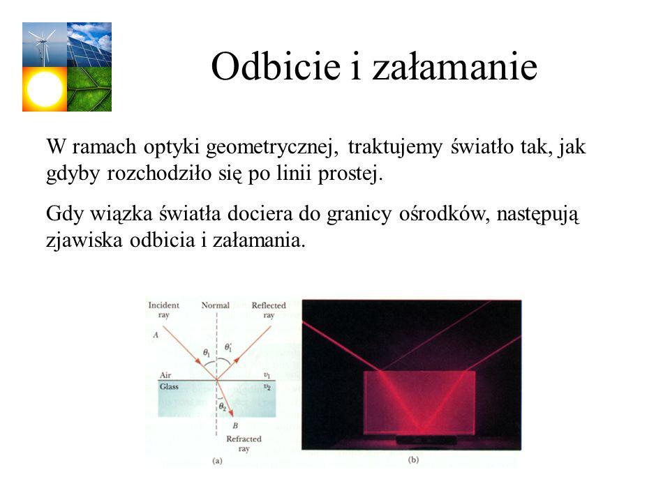 Odbicie i załamanie W ramach optyki geometrycznej, traktujemy światło tak, jak gdyby rozchodziło się po linii prostej. Gdy wiązka światła dociera do g