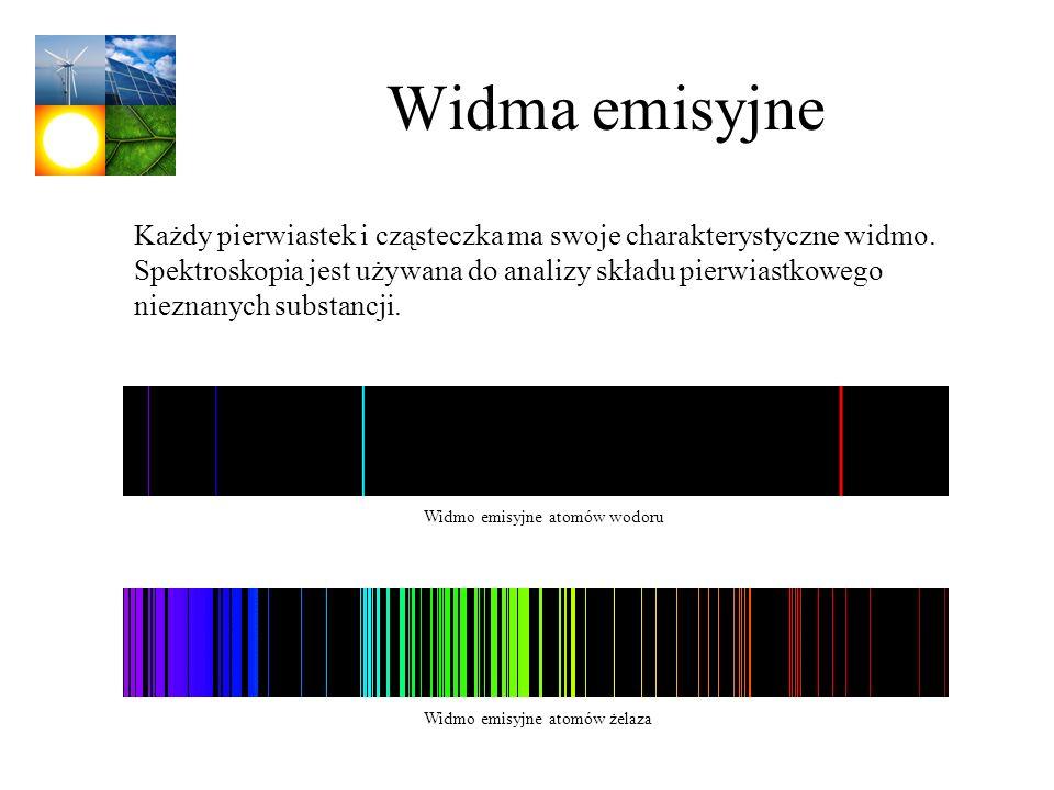 Widma emisyjne Widmo emisyjne atomów wodoru Widmo emisyjne atomów żelaza Każdy pierwiastek i cząsteczka ma swoje charakterystyczne widmo. Spektroskopi