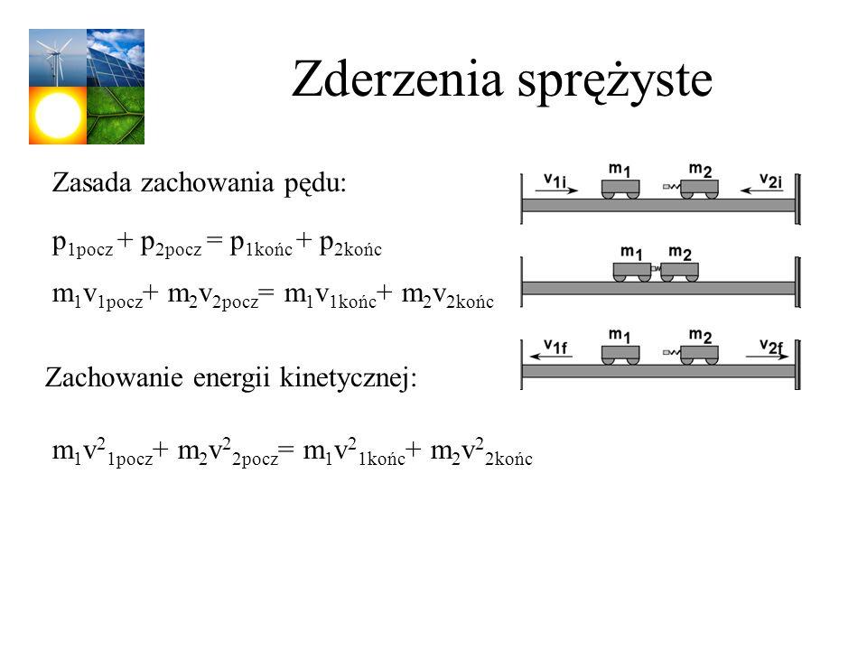 Zderzenia sprężyste p 1pocz + p 2pocz = p 1końc + p 2końc m 1 v 1pocz + m 2 v 2pocz = m 1 v 1końc + m 2 v 2końc Zasada zachowania pędu: Zachowanie ene