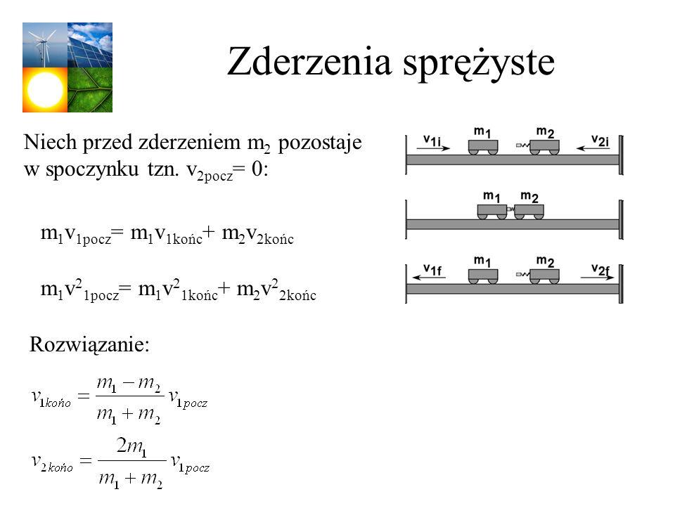 Zderzenia sprężyste m 1 v 1pocz = m 1 v 1końc + m 2 v 2końc Niech przed zderzeniem m 2 pozostaje w spoczynku tzn. v 2pocz = 0: m 1 v 2 1pocz = m 1 v 2