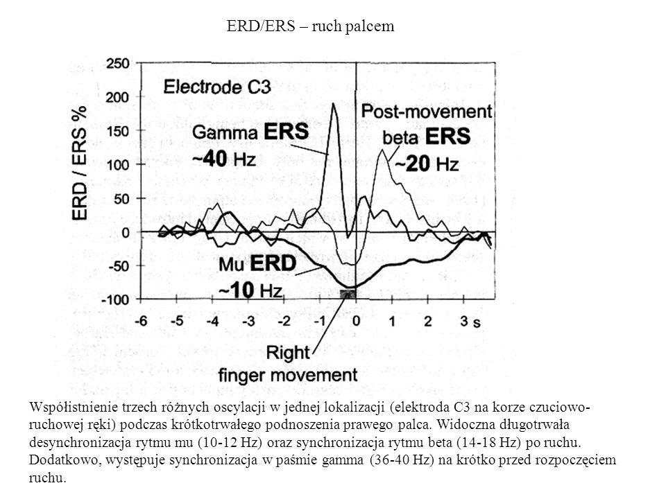 ERD/ERS – ruch palcem Współistnienie trzech różnych oscylacji w jednej lokalizacji (elektroda C3 na korze czuciowo- ruchowej ręki) podczas krótkotrwał
