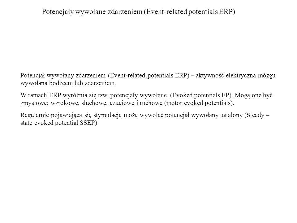 Potencjały wywołane zdarzeniem (Event-related potentials ERP) Potencjał wywołany zdarzeniem (Event-related potentials ERP) – aktywność elektryczna móz