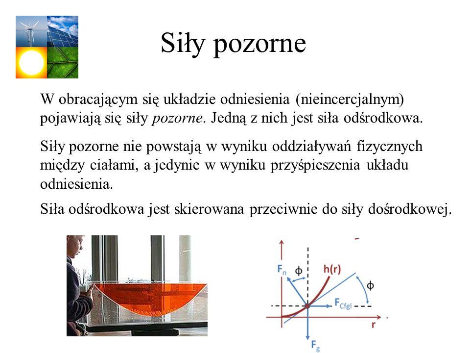 Siły pozorne W obracającym się układzie odniesienia (nieincercjalnym) pojawiają się siły pozorne. Jedną z nich jest siła odśrodkowa. Siły pozorne nie