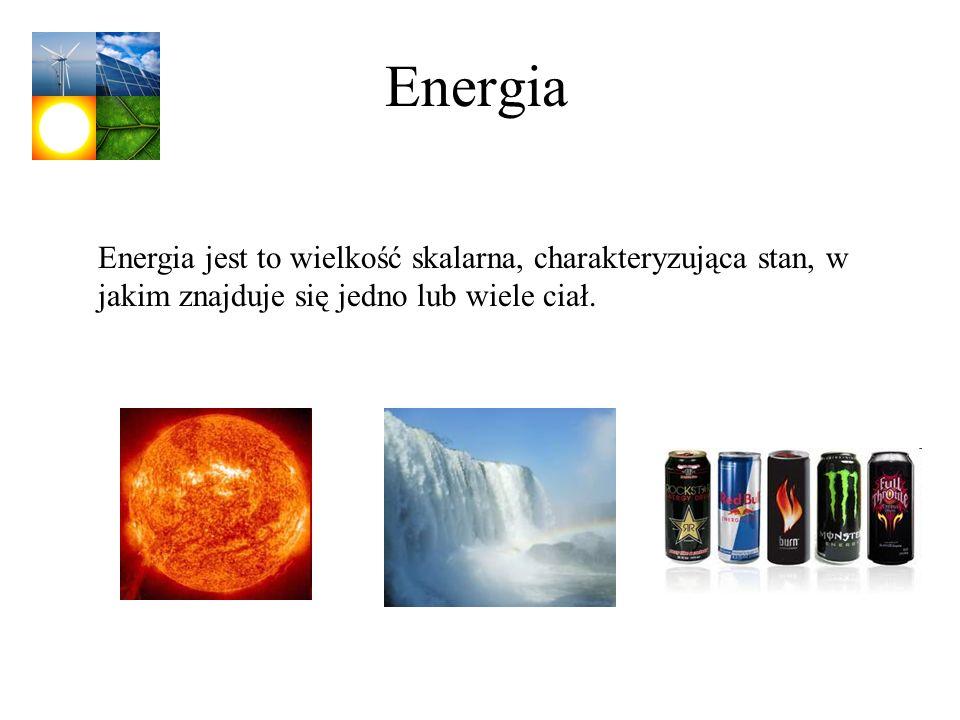 Energia Energia jest to wielkość skalarna, charakteryzująca stan, w jakim znajduje się jedno lub wiele ciał.