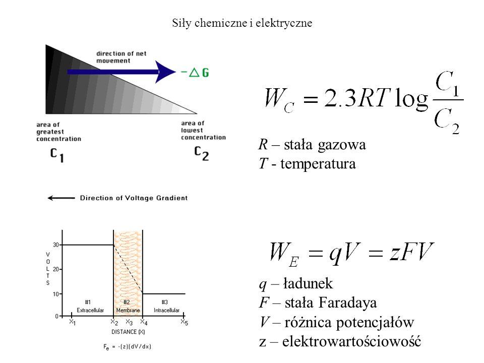 Siły chemiczne i elektryczne R – stała gazowa T - temperatura q – ładunek F – stała Faradaya V – różnica potencjałów z – elektrowartościowość