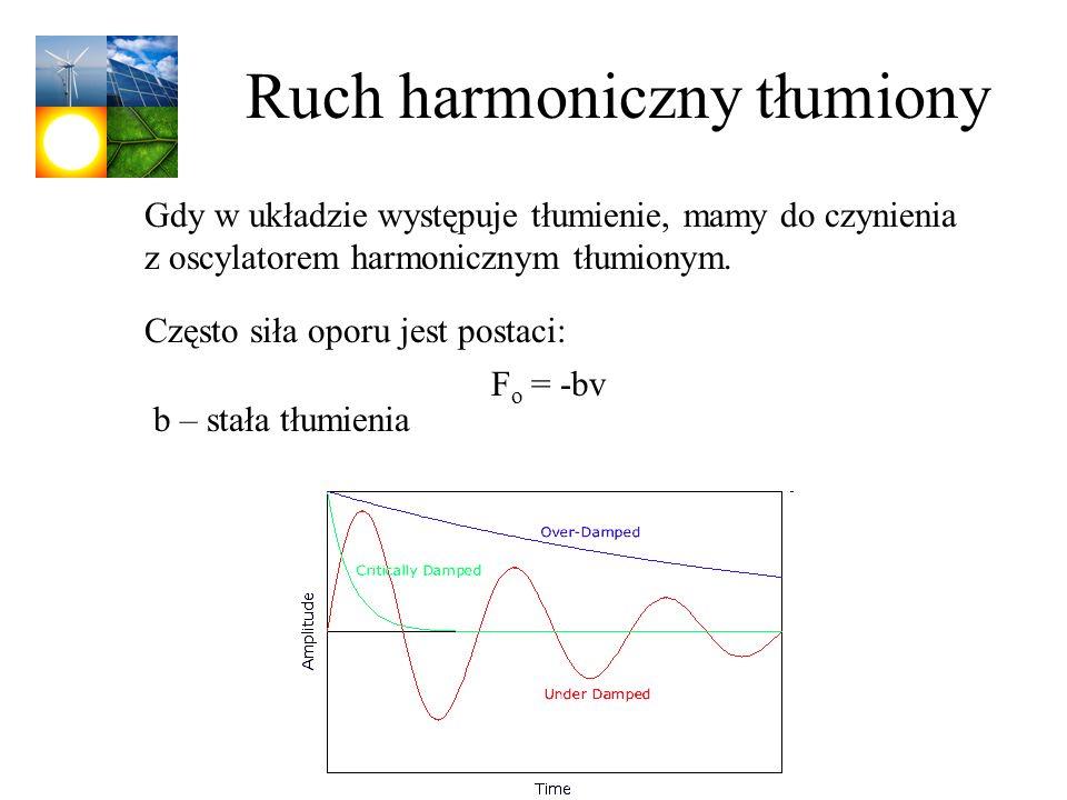 Ruch harmoniczny tłumiony Gdy w układzie występuje tłumienie, mamy do czynienia z oscylatorem harmonicznym tłumionym. Często siła oporu jest postaci: