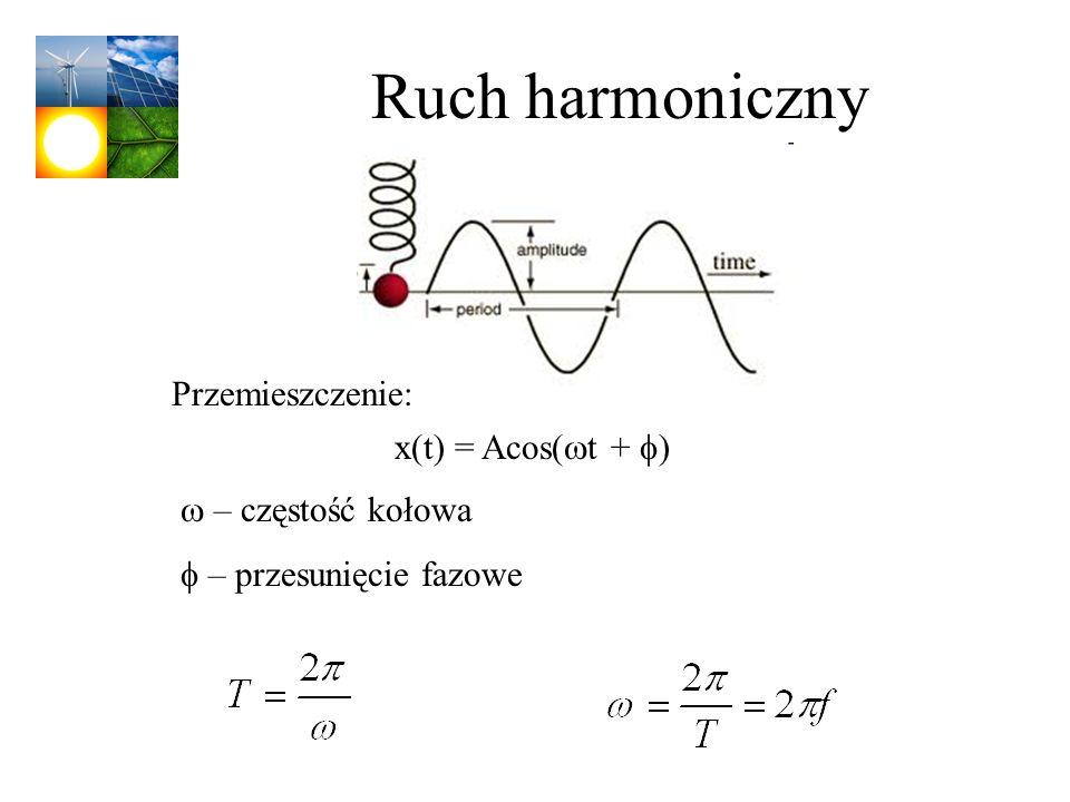 Ruch harmoniczny x(t) = Acos( t + ) Przemieszczenie: – częstość kołowa – przesunięcie fazowe