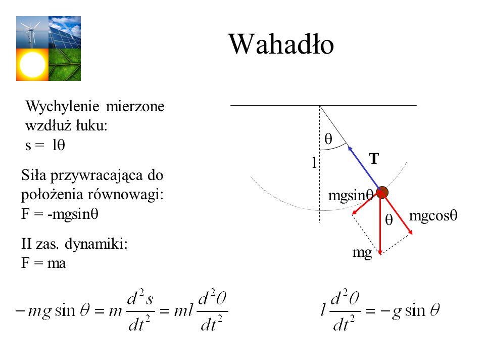Wahadło Wychylenie mierzone wzdłuż łuku: s = l T mg mgcos mgsin l II zas. dynamiki: F = ma Siła przywracająca do położenia równowagi: F = -mgsin