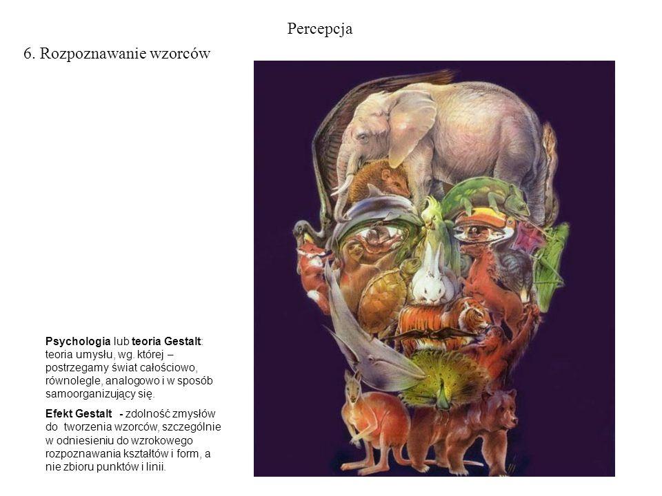 Percepcja 6. Rozpoznawanie wzorców Psychologia lub teoria Gestalt: teoria umysłu, wg. której – postrzegamy świat całościowo, równolegle, analogowo i w