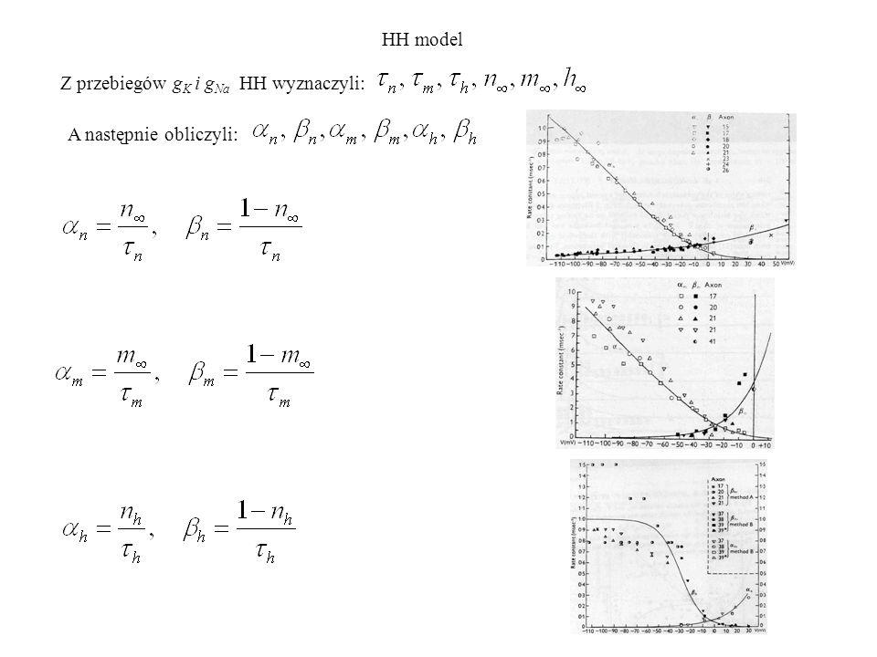 Po dopasowaniu oraz numerycznym rozwiązaniu równań HH, otrzymano doskonalą zgodność z doświadczeniem.
