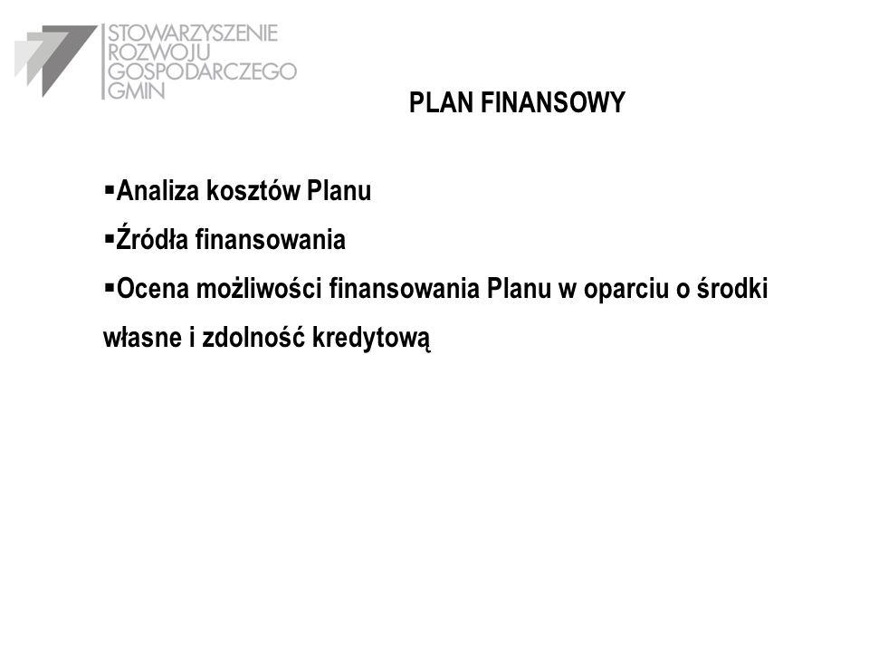 PLAN FINANSOWY Analiza kosztów Planu Źródła finansowania Ocena możliwości finansowania Planu w oparciu o środki własne i zdolność kredytową