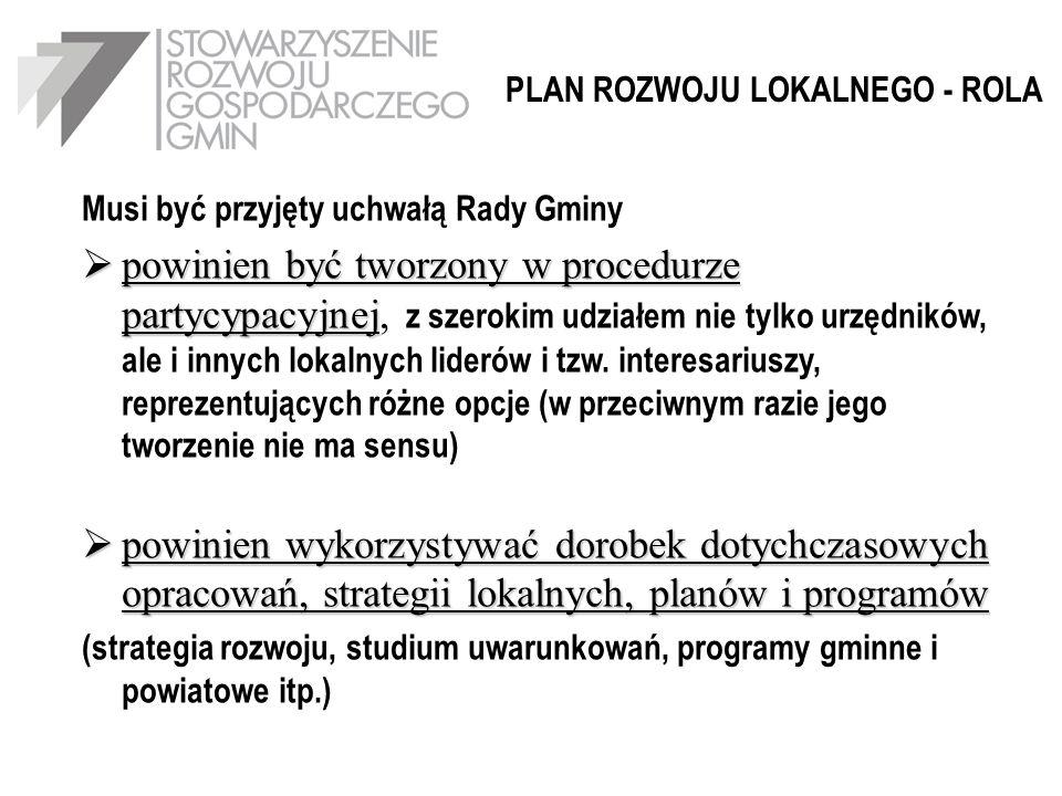 PLAN ROZWOJU LOKALNEGO - ROLA Musi być przyjęty uchwałą Rady Gminy powinien być tworzony w procedurze partycypacyjnej powinien być tworzony w procedur