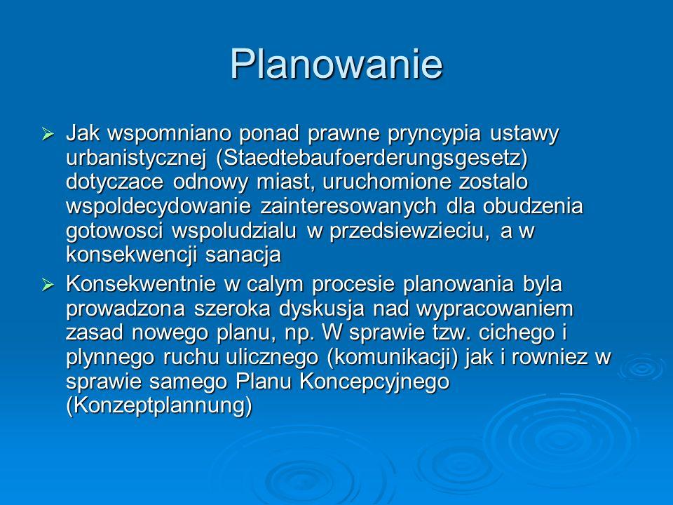 Planowanie Jak wspomniano ponad prawne pryncypia ustawy urbanistycznej (Staedtebaufoerderungsgesetz) dotyczace odnowy miast, uruchomione zostalo wspol