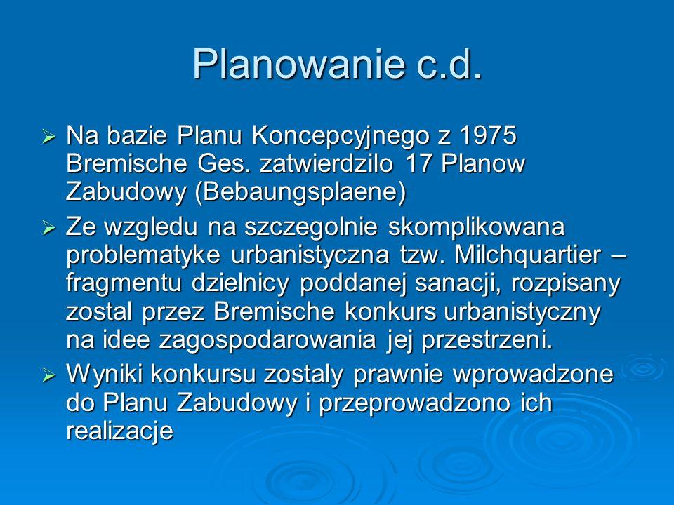 Planowanie c.d. Na bazie Planu Koncepcyjnego z 1975 Bremische Ges. zatwierdzilo 17 Planow Zabudowy (Bebaungsplaene) Na bazie Planu Koncepcyjnego z 197